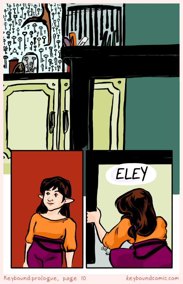 Keybound comic page 10. Inside the Keyp the wall is covered with keys. Eledrine is entranced by them. She crouches down to pick up a key on the floor.