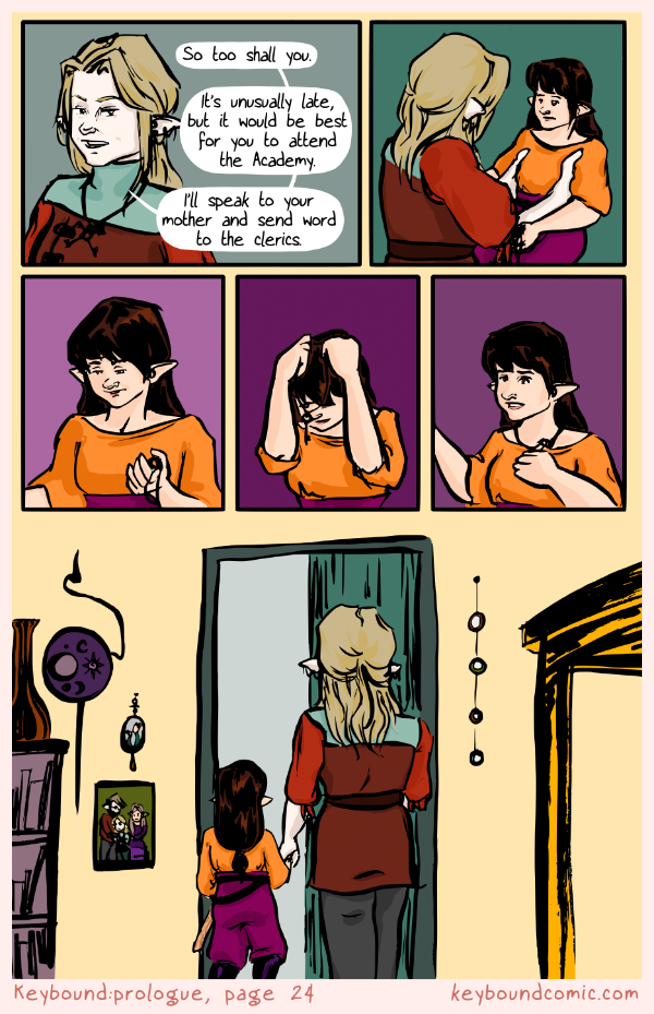 Keybound comic page 24. The Keyper and Eledrine finish their conversation and go to meet with Eledrine's mother again.