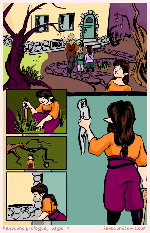 Keybound comic page 9. The Keyper, Agnet, and Fyodor continue towards the Keyper's home. Eledrine investigates the garden before joining them inside.