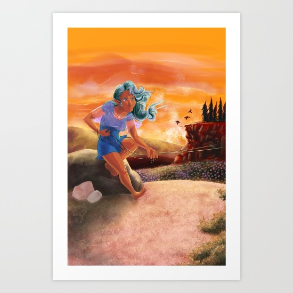 Art Print of Flying a Kite in the Hills of Mouleau